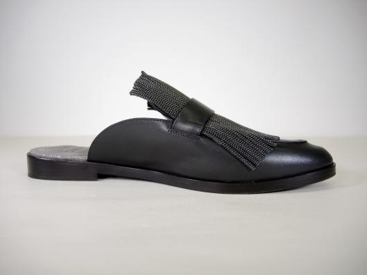 27cb0f2922dc HENRY BEGUELIN Black Woven Leather Fringe Platform Sandal