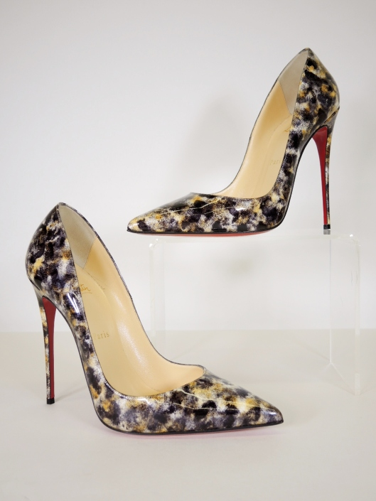 c208b720c1f CHRISTIAN LOUBOUTIN  Bille et Boule  Clear PVC Round Stud Pump with Black  Patent Cap Toe and Suede Heel