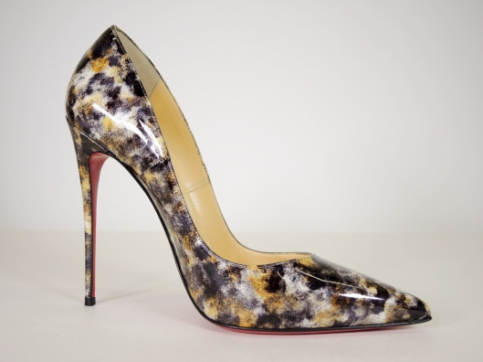 69308ef88350 CHRISTIAN LOUBOUTIN  Bille et Boule  Clear PVC Round Stud Pump with Black  Patent Cap Toe and Suede Heel